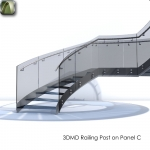 3D  Railing Post on Panel C