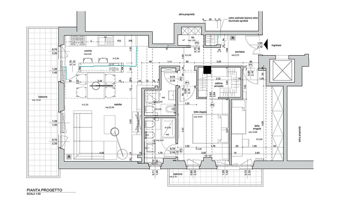 Pianta di un appartamento for Creare planimetrie