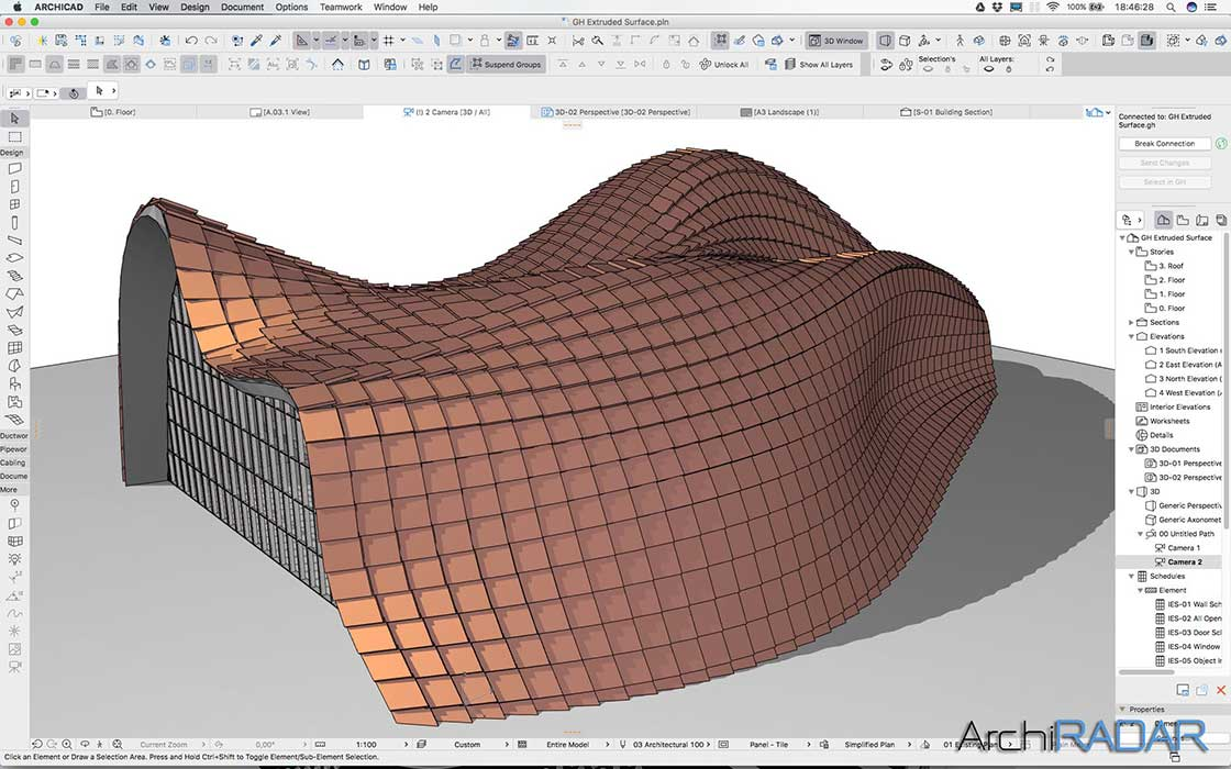 Grasshopper Archicad Extruded surface 01