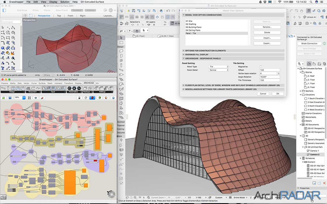 Grasshopper Archicad Extruded surface 04