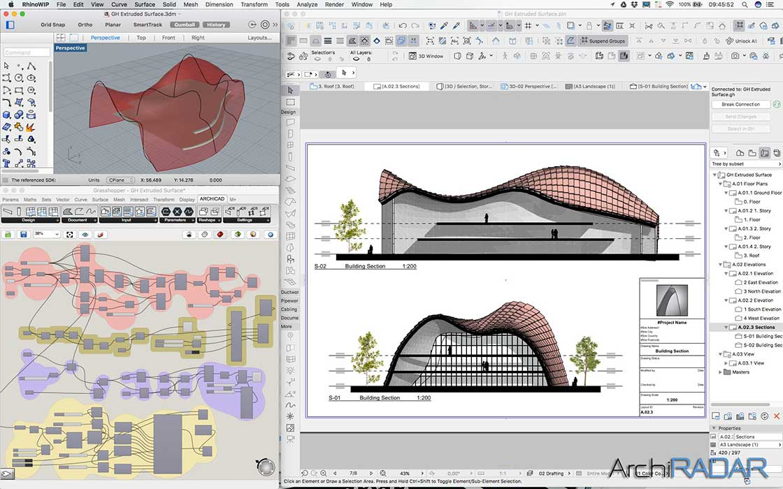 Grasshopper Archicad Extruded surface 05