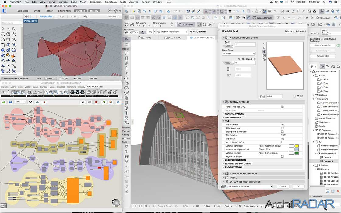 Grasshopper Archicad Extruded surface 06